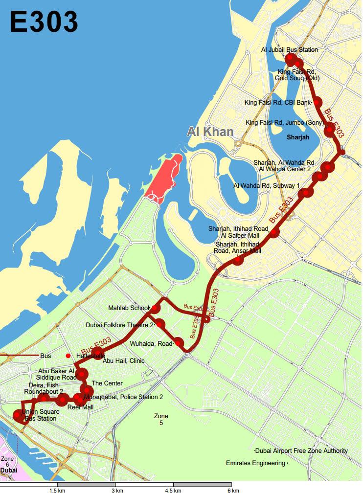 Схема маршрута №E303 от Шарджи