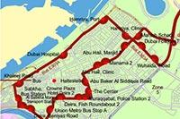 Схема маршрута №E303A из Шарджи в Дубаи