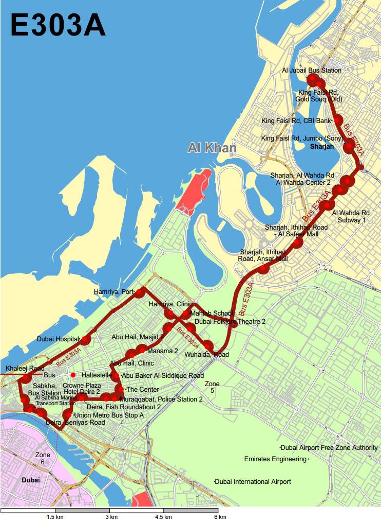 Схема маршрута №E303A из